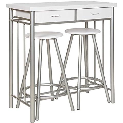 ts-ideen Set 3 pezzi Tavolo e 2 sgabelli in Alluminio