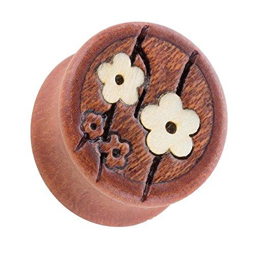 Piercingfaktor Ohr Plug Flesh Tunnel Piercing Ohrpiercing Holz Braun mit Kirschblüten 20mm