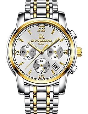 XLORDX Herren Armbanduhr Elegant Quarzuhr Uhr Chronograph Datum klassisch Edelstahl Gold Weiß