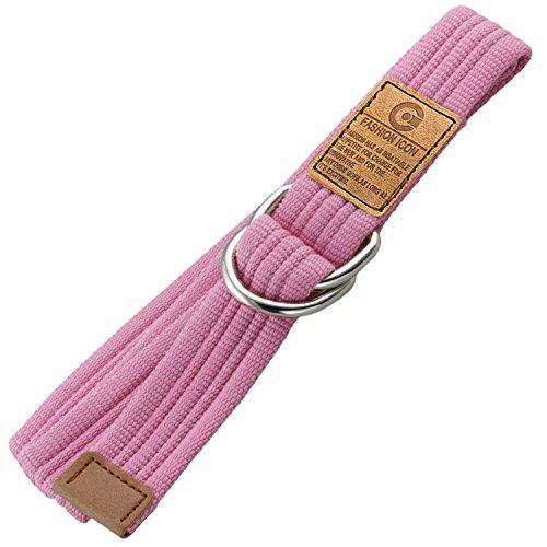 Liqy Liqy Unisexe Double Boucle Boucle de Ceinture Casual Longue Weave Ceinture en Toile Pink#03