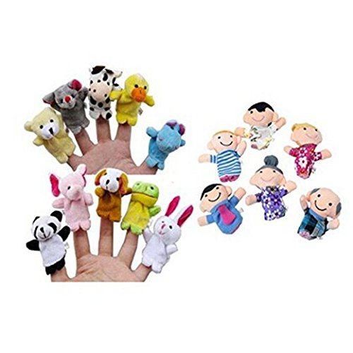 Tonsee%C2%AE Tonsee 16Pc Finger Puppets Animals People Family Members Educational Toy Girls