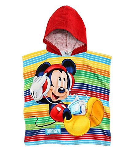 Disney mickey ragazzi asciugamano poncho con cappuccio - rosso -
