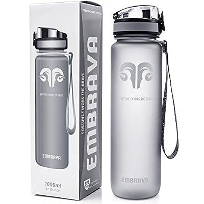 Beste Sport-Wasser-Flasche - 1000ml - Schnell fließend, Klappbarer auslaufsicherer Deckel mit einem Klick zu öffnen - Nicht Giftig BPA-frei & Umweltfreundlicher Tritan Kunststoff