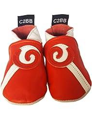 C2BB - Chaussons en cuir souple fille bébé   Sucette rouge