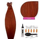 Keratin Bonding Hair Extensions 100% Remy Echthaar Haarverlängerung (#kupfer - 100 Strähnen 1 g - 60 cm) U-Tip Extention Remy Qualität by Glamxtensions