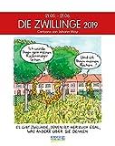 Zwillinge 2019: Sternzeichenkalender-Cartoonkalender als Wandkalender im Format 19 x 24 cm.