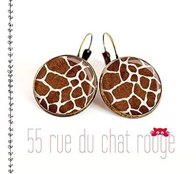 Boucles d'oreilles cabochon de verre 12/14/16/18/20 mm Peau de girafe finition laiton bronze