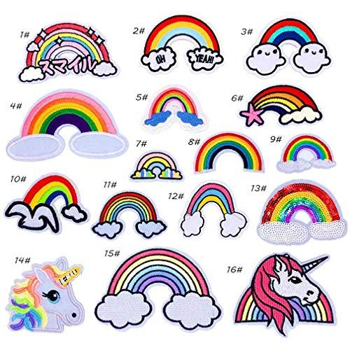 Bella 16pcs Parches Apliques Patches Sticker Parche Termoadhesivo Unicornio Unicorn Arcoiris Rainbow Bordado Iron On Patch para Chaqueta Camiseta Ropa Bolsas