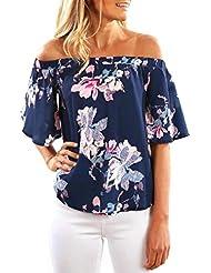 Sannysis camisetas mujer Tops sin mangas de hombro, Impresión floral azul