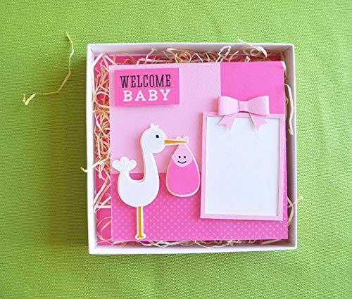 Willkommen Baby - Fotorahmen mit haken - Monofotorahmen - Rosa Schleife - Ideal für Geburten - Babydusche (Größe 16 x 16 cm) in einer hübschen handgefertigten Schachtel (18,5x18,5 cm) (Schleifen Schleife Und Papier Haken)