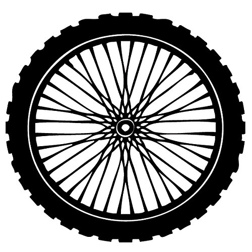 Wadeco Reifen Bike Wandtattoo Wandsticker Wandaufkleber 35 Farben verschiedene Größen, 48cm x 48cm, türkisblau