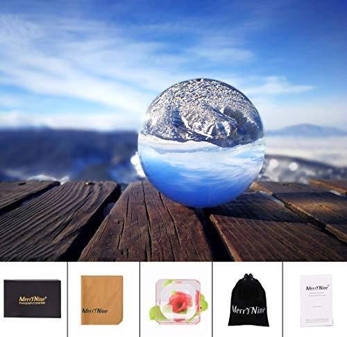 MerryNine lenteball fotografía esfera bola de cristal transparente accesorios de circo Caja de regalo y soporte y bolsa Regalos de amistad regalos para un fotógrafo (90 mm con caja de regalo)