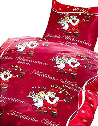 2 tlg. Bettwäsche 135 x 200 cm in rot/schwarz aus Microfaser Fröhliche Weihnachten Engel (Qualitätsware), mit Reißverschluss