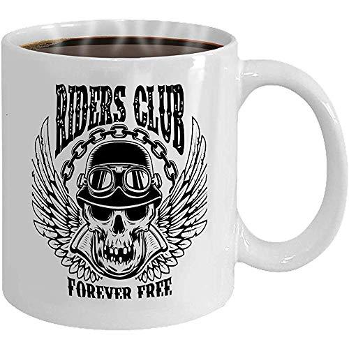 Taza - Taza de café - Regalos- 11 oz Taza de té blanco jinetes club emblema plantilla motero cráneo alas desig