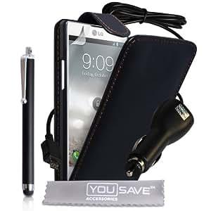 LG Optimus L9 Zubehör Tasche LG Optimus L9 Schwarz PU Leder Flip Hülle Mit Griffel Stift Und Auto La
