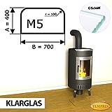 Kaminbodenplatte Funkenschutz ESG Glas Klarglas verschiedene Formen Kamin M5 - 400 x 700 x 6 mm (Klarglas)