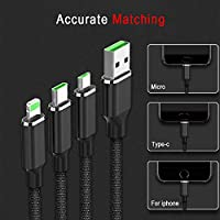‏‪Multi Charging Cable, Toptoo 3 in 1 Premium Nylon Braided Multiple USB Fast Charging Cord Type C/Micro USB Connector Compatible Phone 7Plus/Galaxy S8 More(Black)‬‏