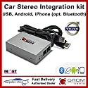 GROM Audio MST4 - USB MP3, iPhone, Android (Bluetooth) Kit für Volvo 2005+ * Single CD * LWL MOST - C30 S40 V50 C70 XC90 S60 V70