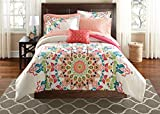 Teen Girls Queen Rainbow Unique Prism Pink Blue Green Colorful Patten Bedding Set 8 Piece Bed in A Bag