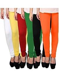 2ee5be6d9 Sri Belha Fashions Leggings for Womens and Girls Cotton Lycra Multicolour  Churidar Leggings - Available Sizes  - L