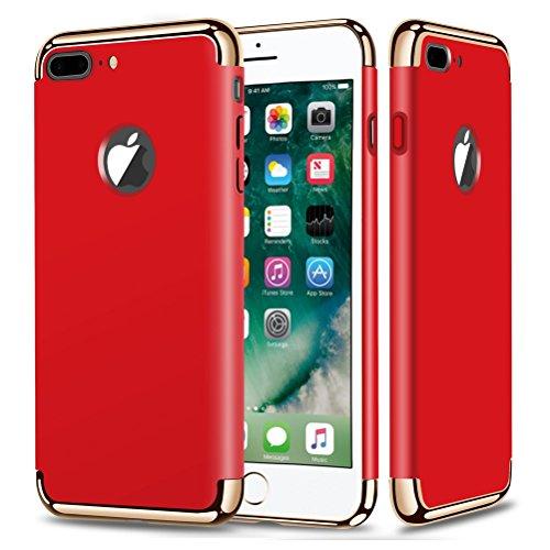 """MOONCASE iPhone 7 Plus Coque - Placage Détachable Design PC Trois-Pièces Slider Antichoc Etui Rigide Case pour iPhone 7 Plus 5.5"""" Bleu Rouge"""