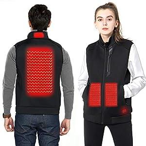 DEKINMAX Beheizte Weste für Herren Damen, Elektrische Beheizte Jacke USB Lade Heizweste, Warme Heat Jacke mit 4 Fakultativ Temperatur für Outdoor Wandern Jagd Motorrad Camping