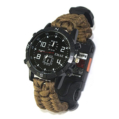 Tentock Multifunktionale Survival Bracelet Watch, Paracord-Uhr im Freien All-in-One for Camping Trekking(braun)