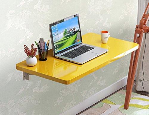 SUBBYE Faltbarer Computer Schreibtisch Wand-Laptop Laptop-Schreibtisch Lernen Schreiben Schreibtisch Farbe Größe Optional ( Farbe : Gelb , größe : 60*40cm )