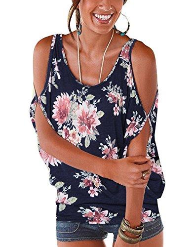 YOINS Bluse Damen Kurzarm Schulterfrei Oberteil Damen Off Shoulder Top Sommer Carmen Shirt Blumenmuster Blumenmuster-Dunkelblau EU36-38