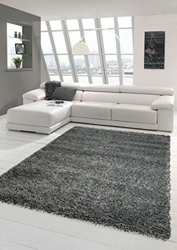 Shaggy Teppich Hochflor Langflor Teppich Wohnzimmer Teppich Gemustert in Uni Design Grau Größe...