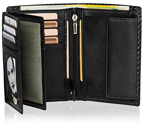 Noah Noir® Geldbörse Hochformat (15 Kartenfächer) TÜV geprüfter RFID Schutz - mit großem Münzfach und Edler Geschenkbox (Panda)