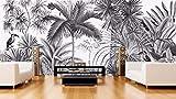 papier peint européen vintage noir et blancTufts Jungle Mural fond d'écran TV fond d'écran 300cm (L) x 200cm (H) (9'8 '' x 6'5 '') ft
