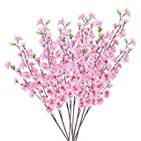 10 Bunch of Artificial Flowers Peach Blossom with 3 Fork Stems Pink