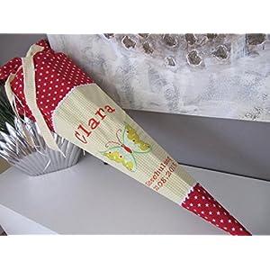 Schmetterling gelb-rot Schultüte Stoff + Papprohling + als Kissen verwendbar