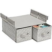 mDesign Organizzatore Armadio Pensile in Tessuto Chevron, 2 Cassetti per Scaffalatura a Filo - Grigio (2 Porta 2 Letto Cassetto)