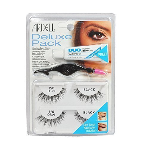 Ardell Eye Lash 120 Black Deluxe Pack, Adhesive & Lash Applicator in Pack by Ardell -
