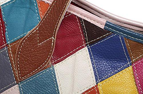 ZPFME Handtaschen Leder Handtaschen Leder Mädchen Party Retro Damen Mode Umhängetasche Diagonal-Paket Mode Freizeit-Tasche Multi