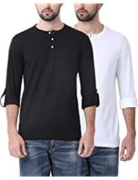 Combo Pack 2 Swiss Club Black And White V-neck T-shirts