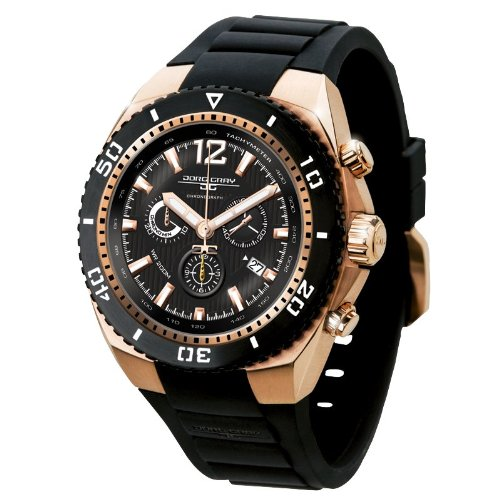 Jorg Gray Men's Quartz Watch with Black Dial Chronograph Display and Black Silicone Strap JG9700-23
