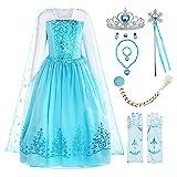 ReliBeauty Mädchen Kleid Prinzessin Elsa Eiskönigin Langarm Falten Pailletten Schneeflocken Kostüm, Hellblau(mit Zubehör), 104-110(Etikett 110)