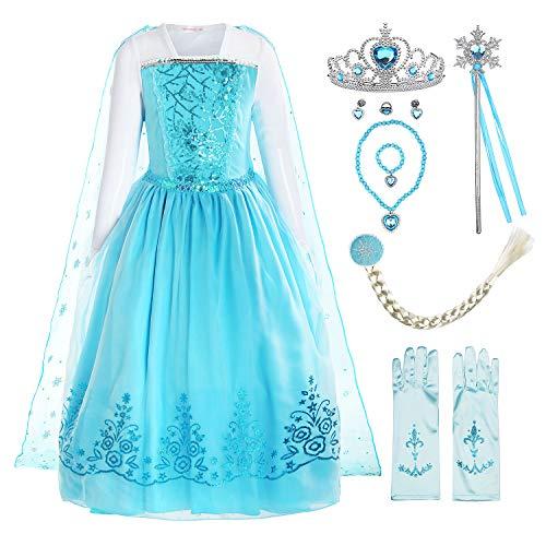 Kostüm Festival Kinder - ReliBeauty Mädchen Kleid Prinzessin Elsa Eiskönigin Langarm Falten Pailletten Schneeflocken Kostüm, Hellblau(mit Zubehör), 134-140(Etikett 150)