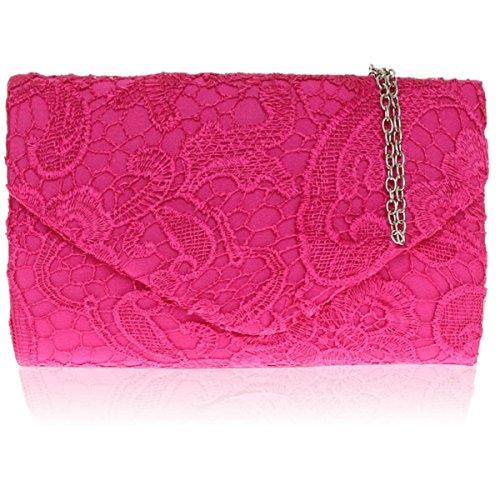 Zarla pochette con motivo floreale in pizzo, Borsa da donna, per abiti da sera, abiti da sera Rosa (Rosa)
