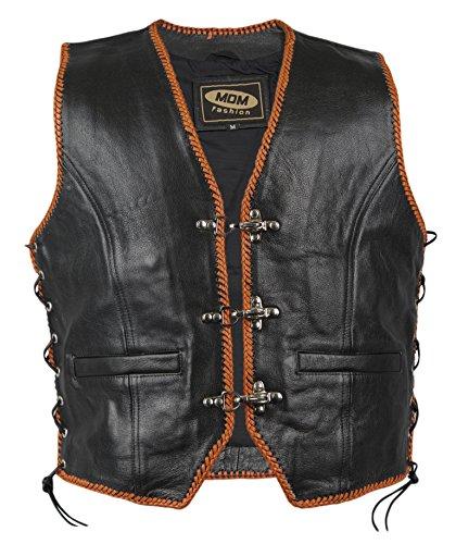 Rocker Weste mit Orangen Kordeln, Bikerweste an Den Seiten geschnürt, Motorrad Weste, Kutte,...