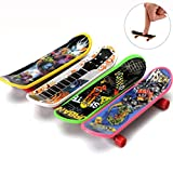 4PC Mini Wooden Fingerboard Skate Board Micro Skateboard Toy Byste Creative Educational Balance Hand Excercise Practice Plaything Portable