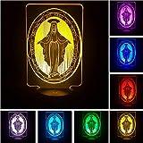 La Vierge Marie 7 Gradient Couleur 3D Illusion Visuelle Led Sommeil Lumière Nuit Lampe Pour Enfants Chambre Décor À La Maison Jouet Bonne Chance Cadeaux