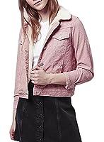 ACHICGIRL Women's Fashion Turn Down Collar Corduroy Jacket, Pink L
