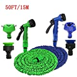 J GO Expandable Magic Flexible Water Hose 50 Ft / 15 M EU Hose Plastic Hoses Pipe With Spray Gun To Watering Washing Cars(50ft&15m)
