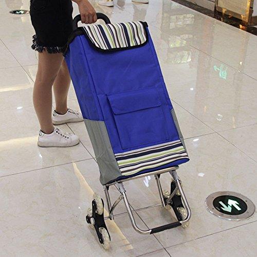 Einkaufswagen Einkaufstrolley Rostfreier Stahl Kaufwagen Klappbarer tragbarer Älterer Trolley Kleiner Trailer Bag Trolley Trolley (Farbe : Dunkelblau)