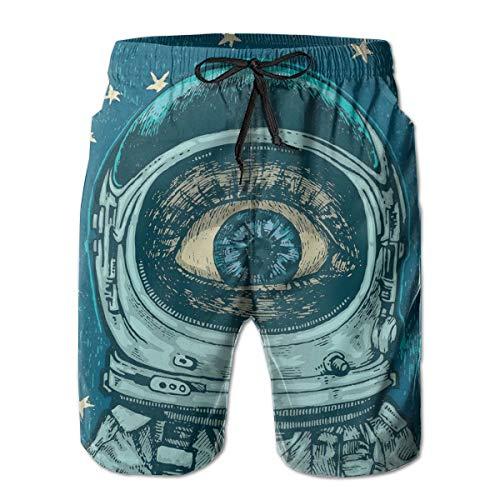 MIOMIOK Men Swim Trunks Beach Shorts,Amazed Astronaut Giant Surprised Eye Stars Amazing Wonders of The Universe,Quick Dry 3D Printed Drawstring Casual Summer Surfing Board Shorts XXL - Wonder Wash Mini