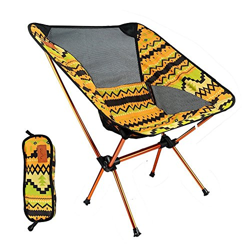 Jhua Outdoor Foldable Chair Portable Lightweight Folding Chair Sturdy Aluminium Alloy Fishing Chair with Carry Box for Camping/ Hiking/ Beach/ Road Trip/ BBQ/ Garden (Indian yellow)